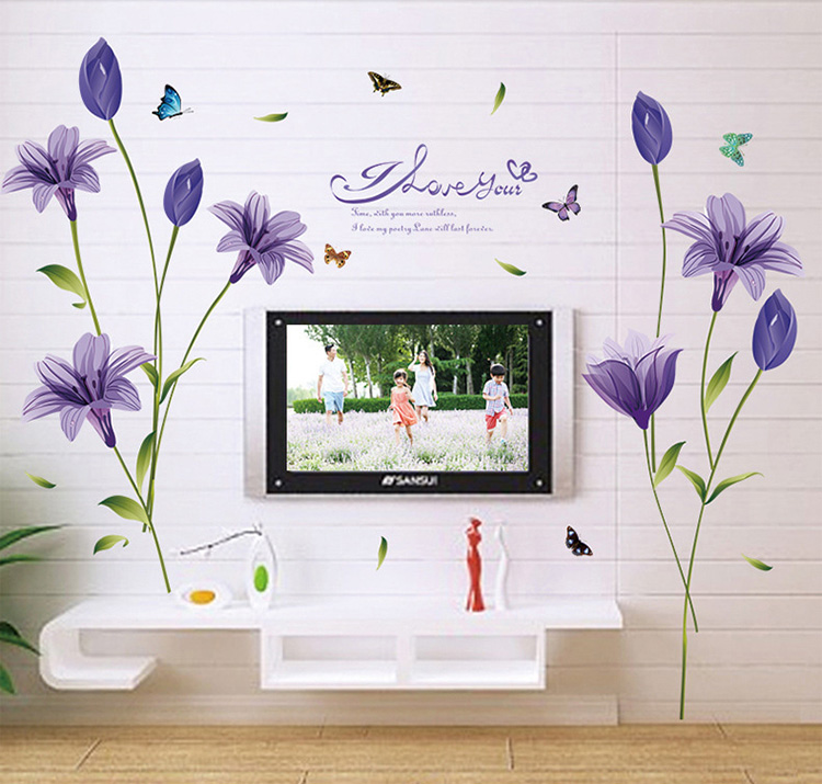 Purple Pollen Removable Wall Art Decal Sticker Diy Home: Purple Pink Lilies Large Wall Stickers Home Decor Living