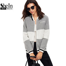 SheIn Grey Women Basic Coats Long Sleeve Womens Winter Jackets and Coats Color Block Baseball Outerwear Ladies Bomber Jacket