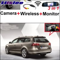 For Volkswagen VW Passat B7 Wagon 3 In1 Special Rear View Camera Wireless Receiver Mirror Monitor