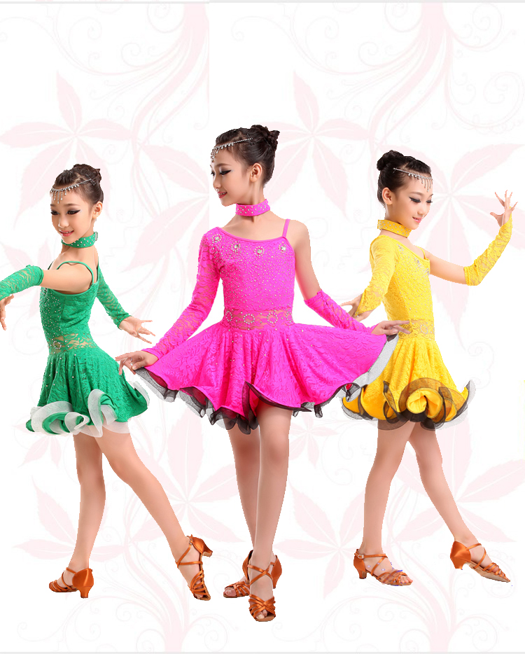 Lace Latin Dance Dress For Girls Samba Dress Kids Ballroom Latin ...