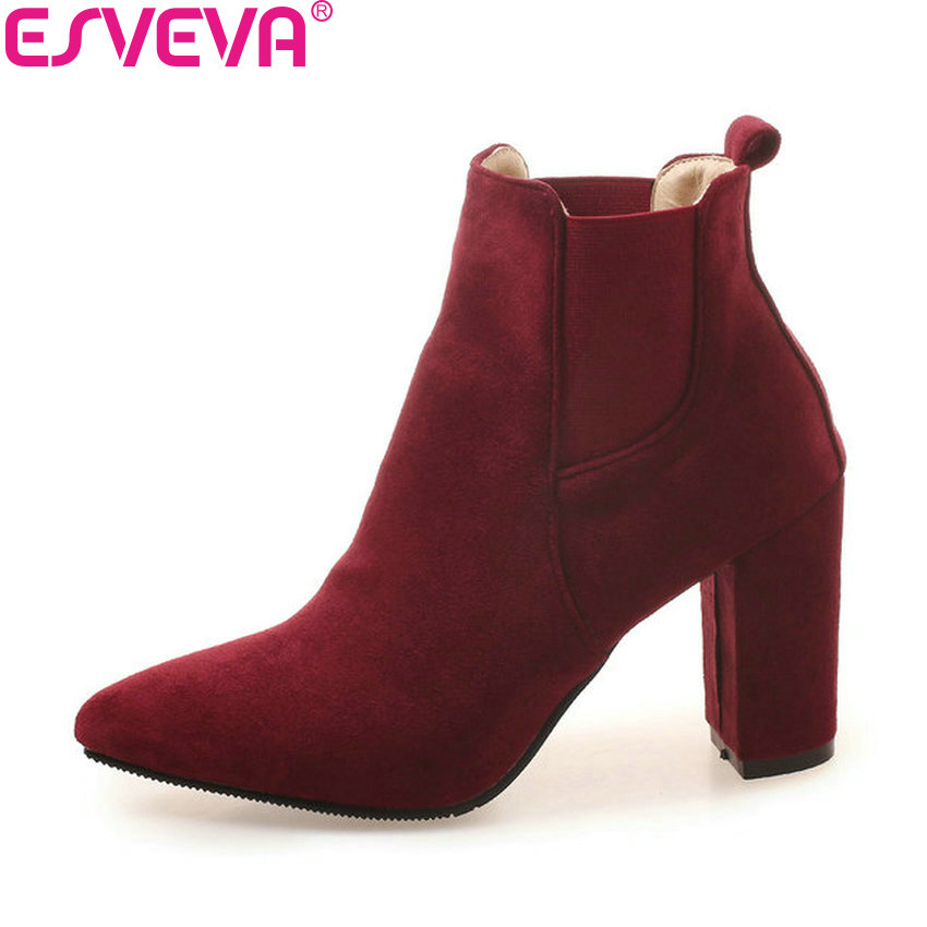 ESVEVA 2019 Women Boots Elastic Band Square High Heels Shoes Ankle Boots Pointed Toe Spring Autumn Women Shoes Boots Size 34-43 esveva 2018 women boots short plush pu lining elastic band pointed toe square high heels ankle boots ladies shoes size 34 39