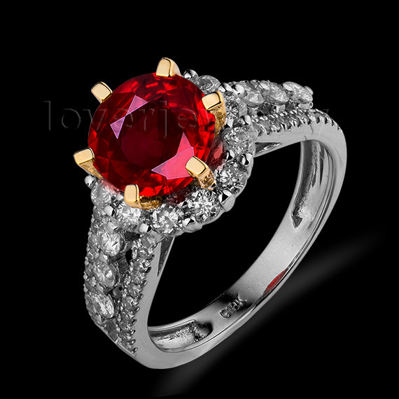 Elegant Solid 18Kt Two Tone Gold Genuine Natural Diamond Ruby
