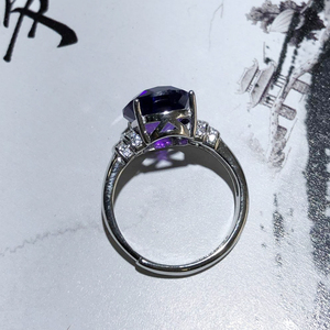 Image 5 - MeiBaPJ Natural Amethyst Gemstone Fashion Ellipse Simple Ring for Women Real 925 Sterling Silver Fine Charm Jewelry