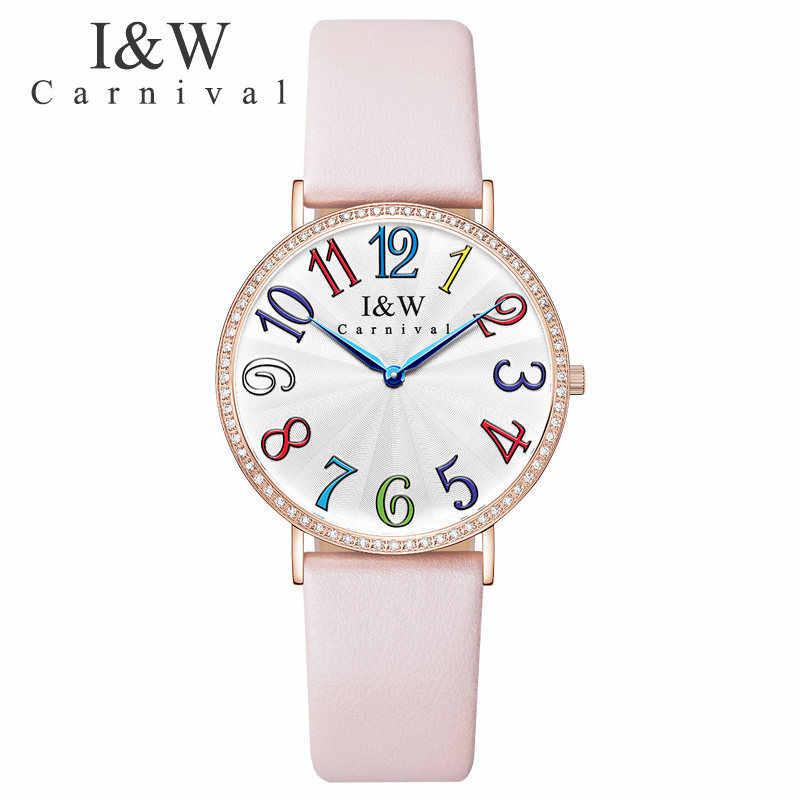 Карнавал люксовый бренд часы для женщин Швейцарский импортный КВАРЦ ДВИЖЕНИЕ женские часы водонепроницаемые из натуральной кожи reloj hombre C3002G-6