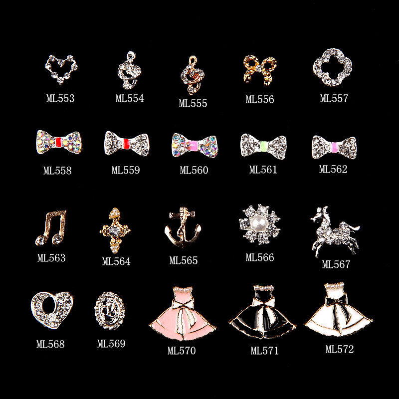 100pcs 20styles bows music horse nail diamonds rhinestones 3d nail art jewelry decoration strass adesivo accessories supplies in Rhinestones Decorations from Beauty Health