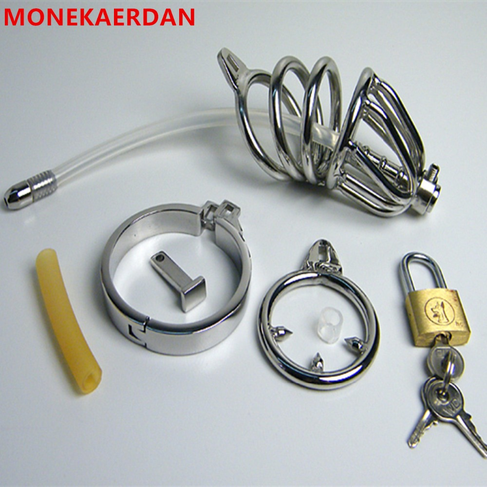 Penis Rings Cock Cage With Silicone Catheter , Stainless Steel Chastity Device , Fetish Sex Products Adult Toys For Men - AJ27 metal cockring penis cage with anti off ring stainless steel male chastity device adult sex toys cock rings for men cb6000s