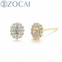 ZOCAI Brand Diamond Earrings Real Certificated 0.28 CT Diamond 18K Yellow Gold (AU750) Engagement Earrings JBE90242T