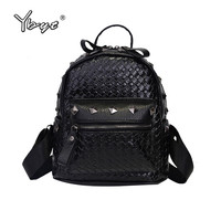 YBYT Brand 2017 New Vintage Casual Knitting Women Kawaii Backpack Preppy Style Rivet Ladies Travel Bag