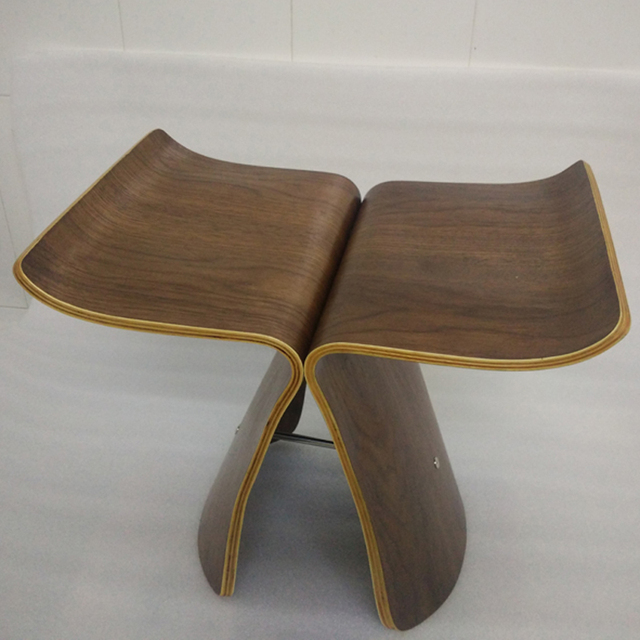 Free Shipping   American Walnut Color Butterfly Stool