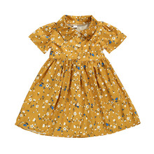 2019 New Style Girls Dress Cotton Short Sleeve Turn Down Collar Single-breasted Floral Dress Toddler Clothes Bow Princess Dress retro style short sleeve round collar loose floral print dress for women