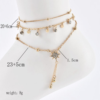3 Pcs/Set New Fashion Gold Crystal Sequins Star Beads Anklets for Women Bracelet on The Leg Foot Beach Jewelry Accessories 1