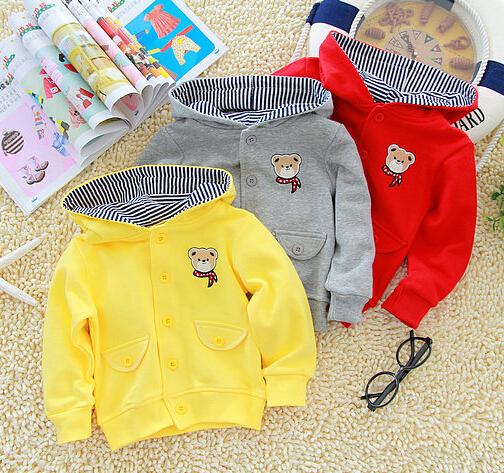 Envío libre Otoño bebé oso párrafo de las niñas la ropa del bebé con una capucha prendas de abrigo