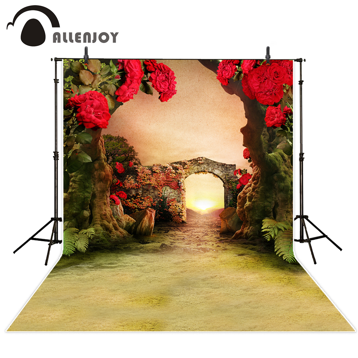 Allenjoy photography background Red flower Arches romantic background for sweet wedding celebration excluding stand photocall allenjoy 10ftx6 5ft fireworks photography backdrop black night romantic wedding background for photography studio without stand