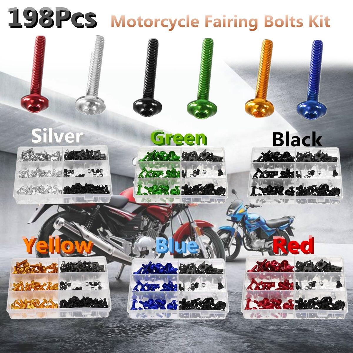 купить 198pcs Universal Motorcycle Fairing Spring Screws Bolts Nuts Kit Fastener Clips Sportbike for Honda/Yamaha/Kawasaki/Suzuki по цене 1263.42 рублей