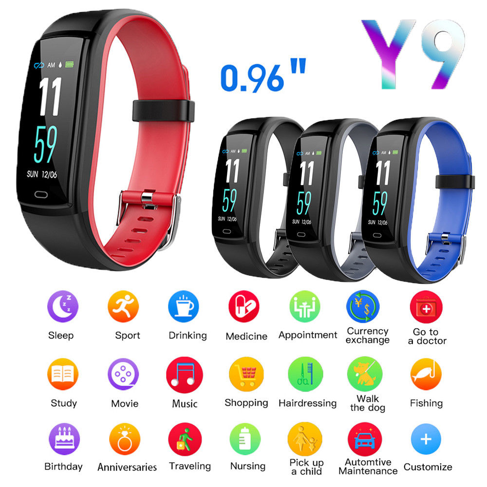 Y9 Smart Wristband Color Screen Smart Band IP67 Waterproof Blood Pressure Heart Rate Activity Fitness Smart Bracelet image
