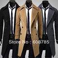 Men'S Woolen Coat 2014 British Men'S Fashion Winter Warm Coat Plus Size Thick Long Slim Trench Overcoat Male Free Shipping H1539