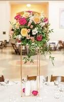 4 Colors 10PCS Flower Vase Columns Floor Vases Column Stand Metal Road Lead Wedding Table Centerpiece Flower Rack Event Decor