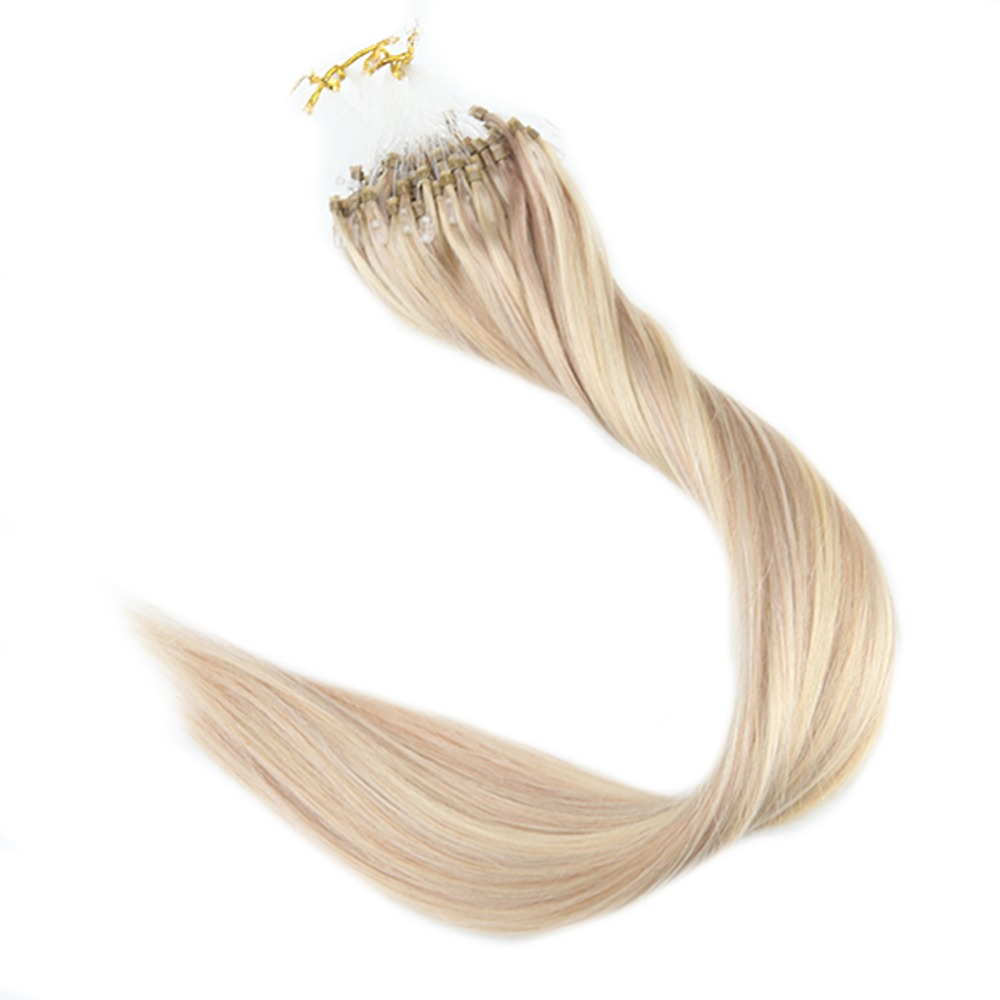 Full Shine Micro Loop Human Hair Extensions Piano Color Micro Loop Ring Hair Highlight Color Remy