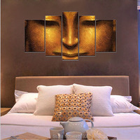 Canvas Art 5 Pannels pictures of Face of Golden Buddha Paintings Home Decoration,City Pictures Photo HD Prints On Canvas