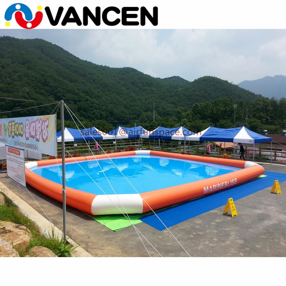 10*6*0.65m Inflatable Type Water Playground Pool 0.9mm PVC high quality deep inflatable pool for rental