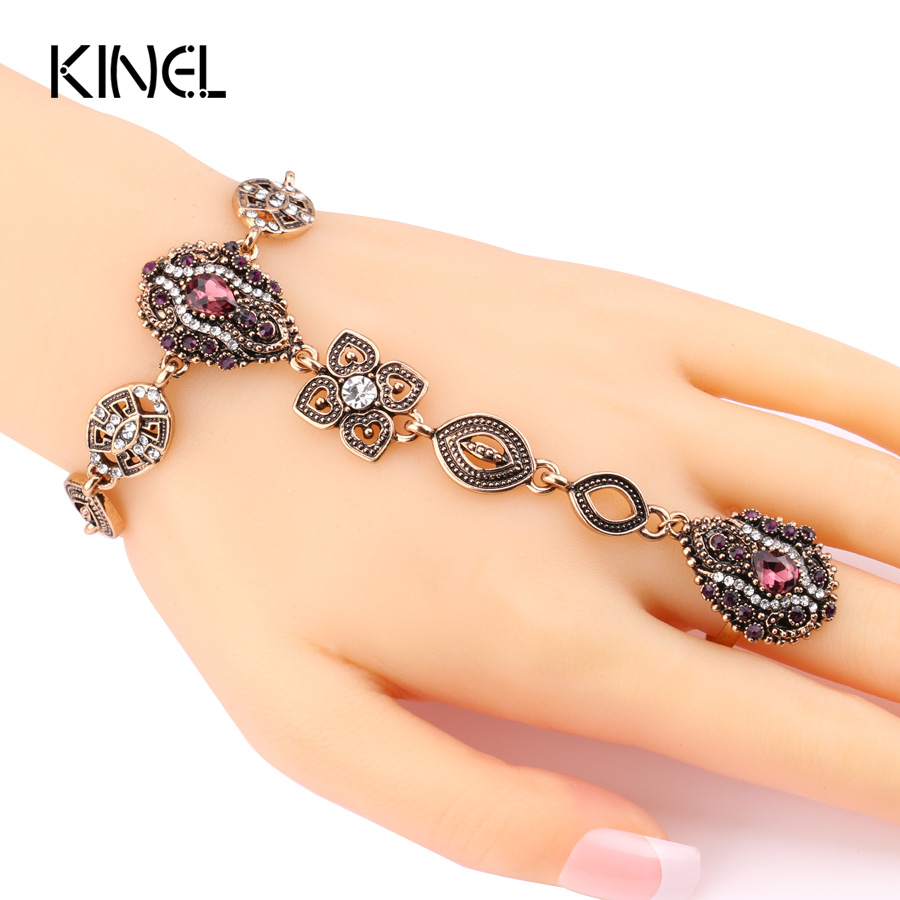 Kinel 2017 Fashion Crystal Flower Vintage Jewelry Sets Unique Bracelets And Rings For Women Gold Color Luxury Turkey Jewelry