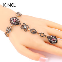 Kinel 2017 Fashion Crystal Flower Vintage Jewelry Sets Unique Bracelets And Rings For Women Gold Color Luxury Turkey Jewelry(China)