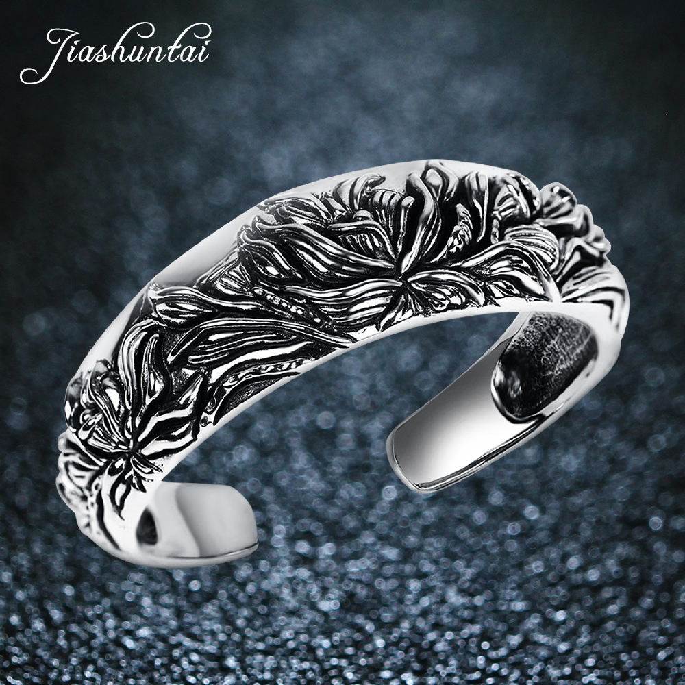 JIASHUNTAI Retro 990 Sterling Silver Bangles For Women Peony Flower Vintage Silver Jewelry Female Handmade Opening