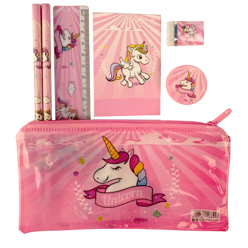 1 set pink unicorn kawaii pencil case cute Kids school supplies stationery set cartoon pencil case& Bag for boys& girls