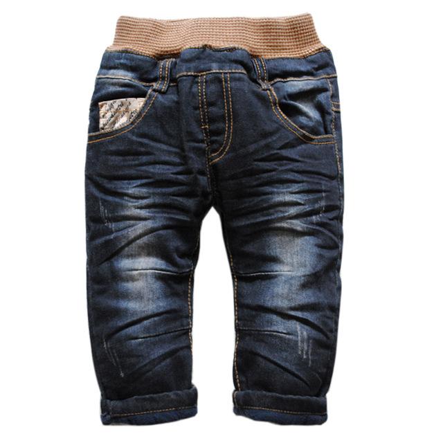 6185 gruesas de invierno pantalones vaqueros del bebé de los bebés jeans denim + fleece niños moda de nueva negro agradable