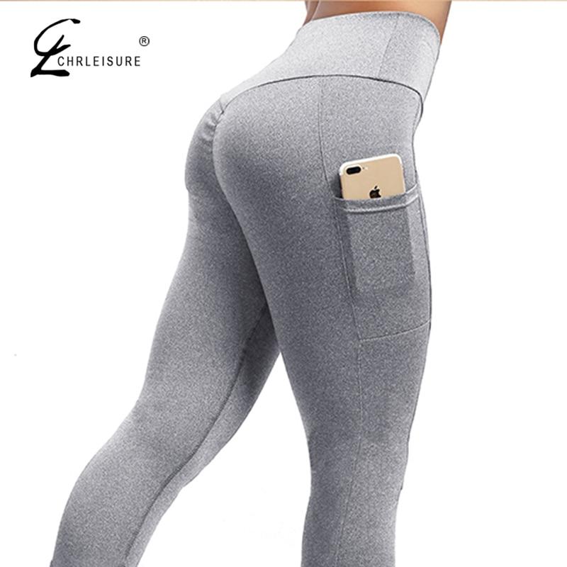 CHRLEISURE de Fitness a las mujeres entrenamiento polainas alta cintura con bolsillo Leggings Mujer elástico arrugas pantalones 6 Color