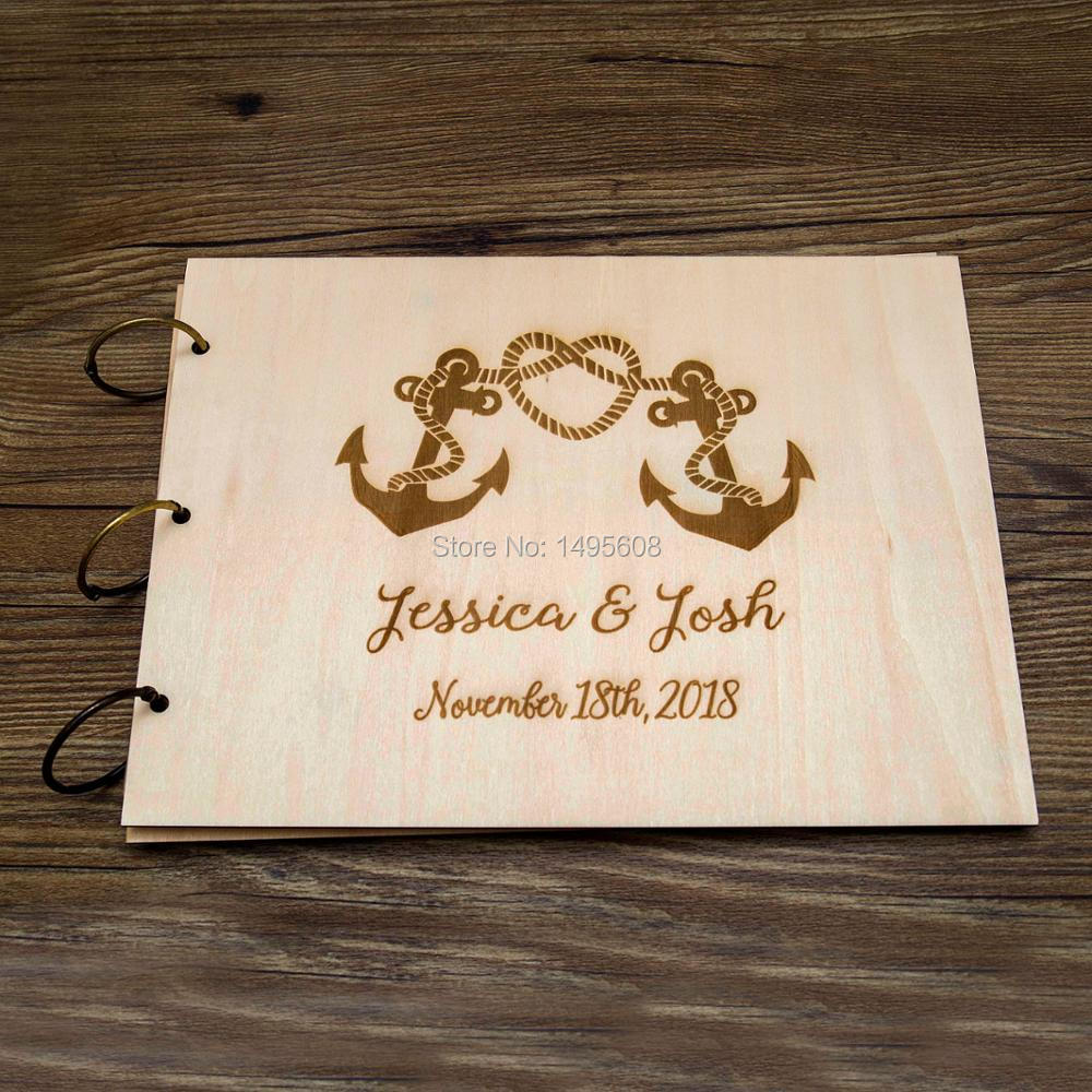 Rustic guest book Wedding guest book Nautical Anchor guestbook Custom Engraved Wooden guest book Wedding guestbook Unique guest