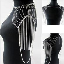 3 Colors Luxury Fashion Stunning Sexy Body Belly,Gold Silver Body Chain Slave Harness Shoulder Necklace Jewelry DFJ5050423