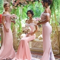 2016 Off the Shoulder Mermaid Bridesmaid Dresses Long Sexy Backless Bridesmaids Dresses