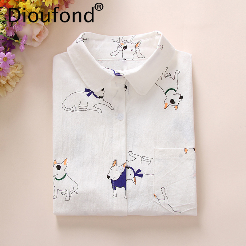 Dioufond Animals Cotton Female Blouses Pockets Long Sleeves Ladies Shirts Dog Be
