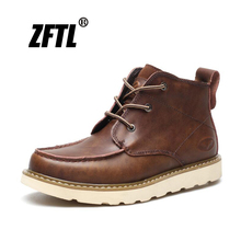 ZFTL New Men martins boots man casual Tooling male genuine leather ankle mens trend martens lace-up shoes 2019  072