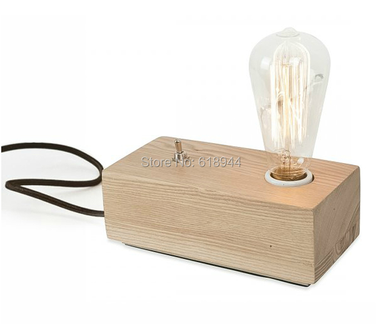 ФОТО Creative Retro American Wood Table Lamp Bedroom Bedside Lamp Art Reading Lamp Decorative Lights