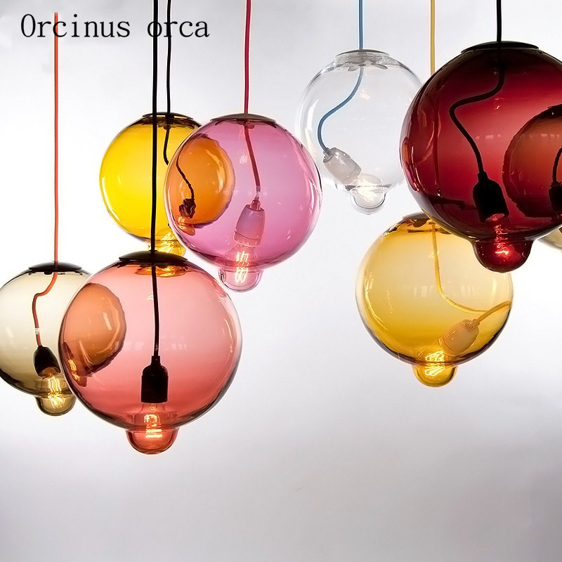 Nordic Modern Simple Color Ball Glass Chandelier Restaurant Bar Creative Personality Transparent Glass Lamp Free Shipping