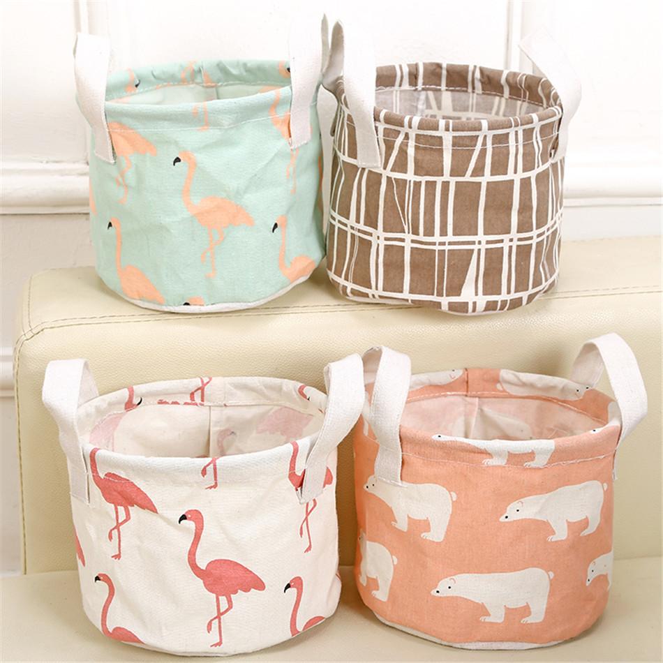 Cute Printing Cotton Linen Desktop Round Storage Organizer Sundries Box Cabinet Underwear Jewelry Cosmetic Stationery Basket (1)