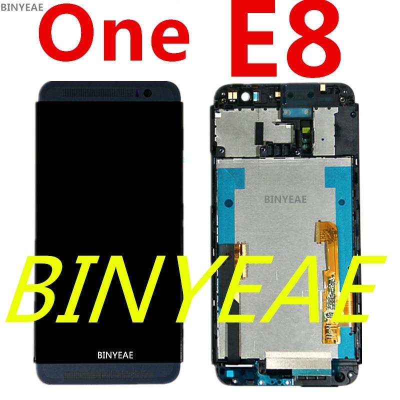 imágenes para M8Sw BINYEAE Para htc Uno E8 LCD Dual Sim doble asamblea de pantalla pantalla LCD de pantalla táctil de la tarjeta caja de la correa, carcasa frontal