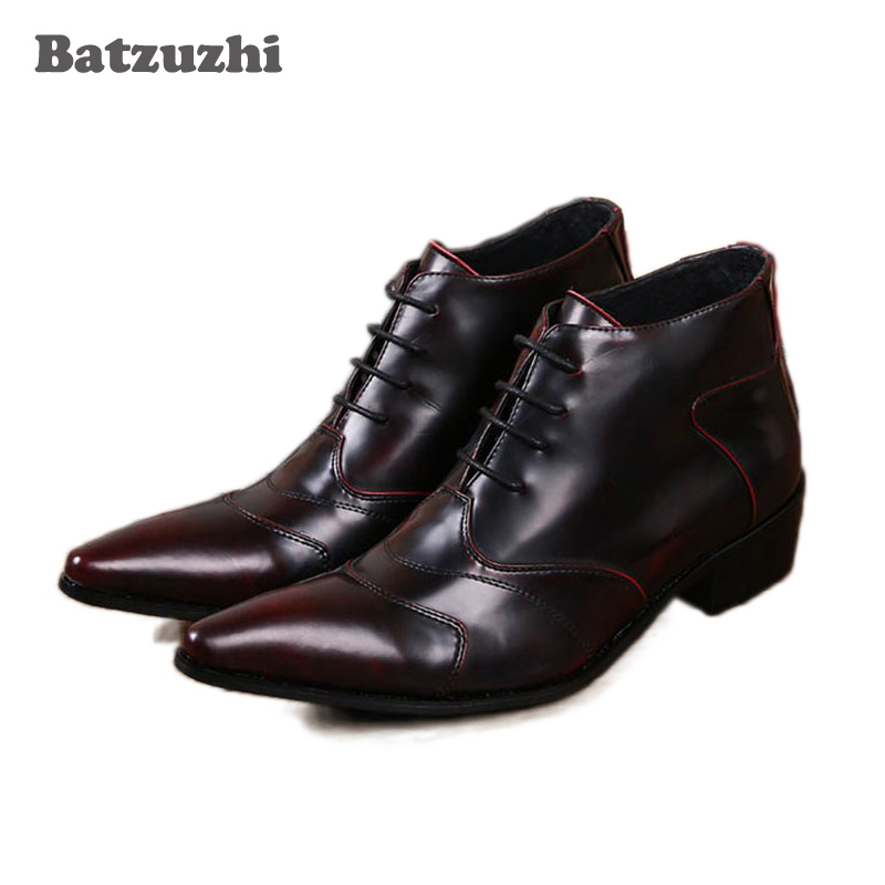 Batzuzhi-Personalized High Top Men Business Leather Ankle Boots Fashion Lace Up Brush Color Men Short Ankle Boot Shoes цена 2017