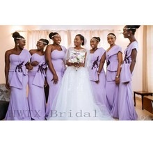 Lilac One Shoulder Bridesmaid Dresses Long Sexy One Shoulder Mermaid African  2018 Country Wedding Party Formal b34f5896b2dd