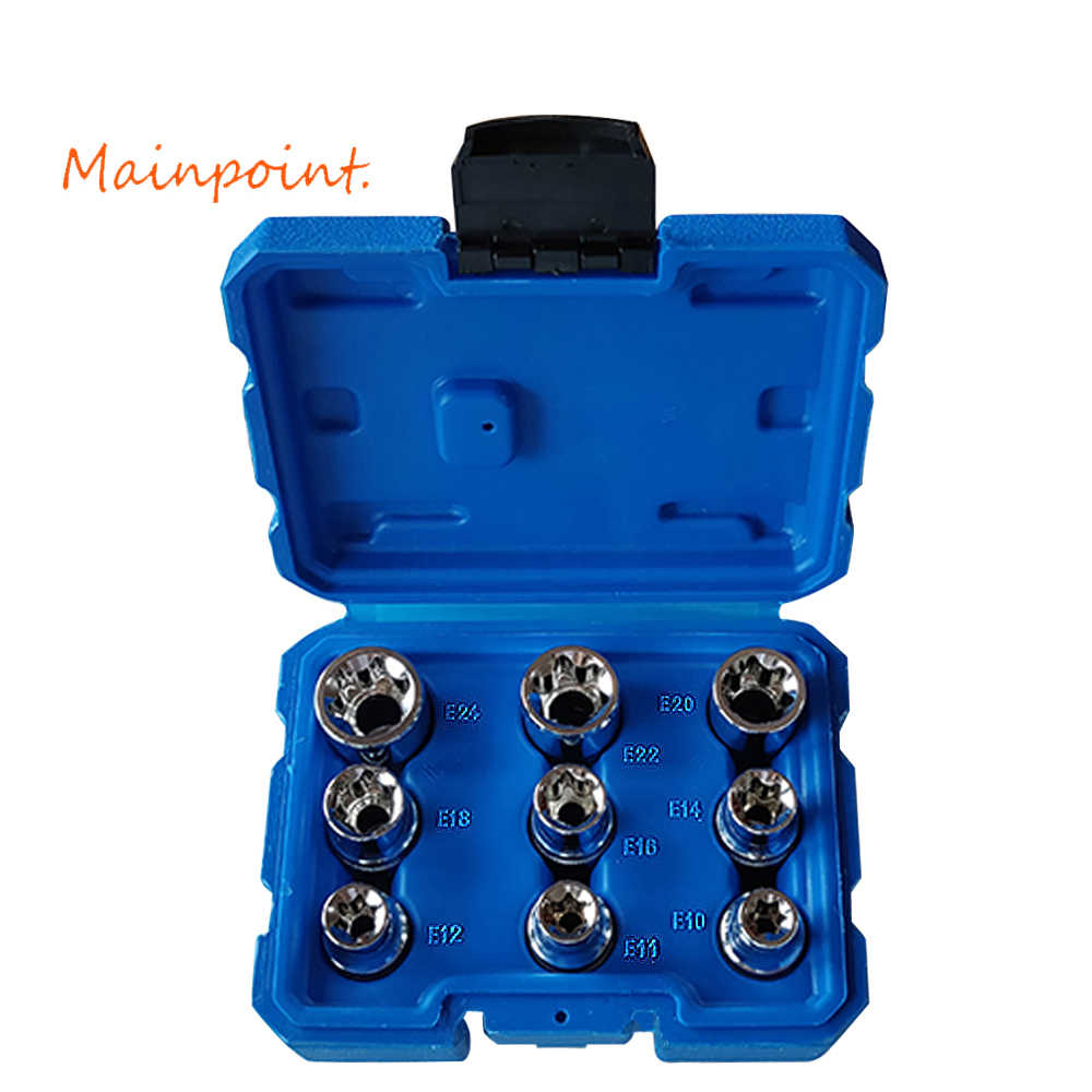 "9Pcs E-Socket 1/2"" Torx Star Bits Chromium-vanadium Steel Female Socket Nuts Set E10/E11/E12/E14/E16/E18/E20/E22/E24 Hand Tools"