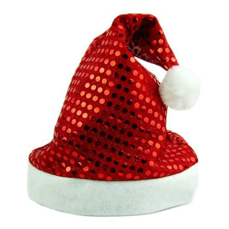 1pc 2017 New Hot Unisex Red Christmas Holiday Xmas Cap Fashion Shinning Paillette Design Santa Claus Caps Gifts Holiday Costumes