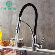 Nieneng Кухонная мойка кран черный и chrome Палуба горе вытащить двойной сопла распылителя горячая холодная смесители воды инструменты ICD60365