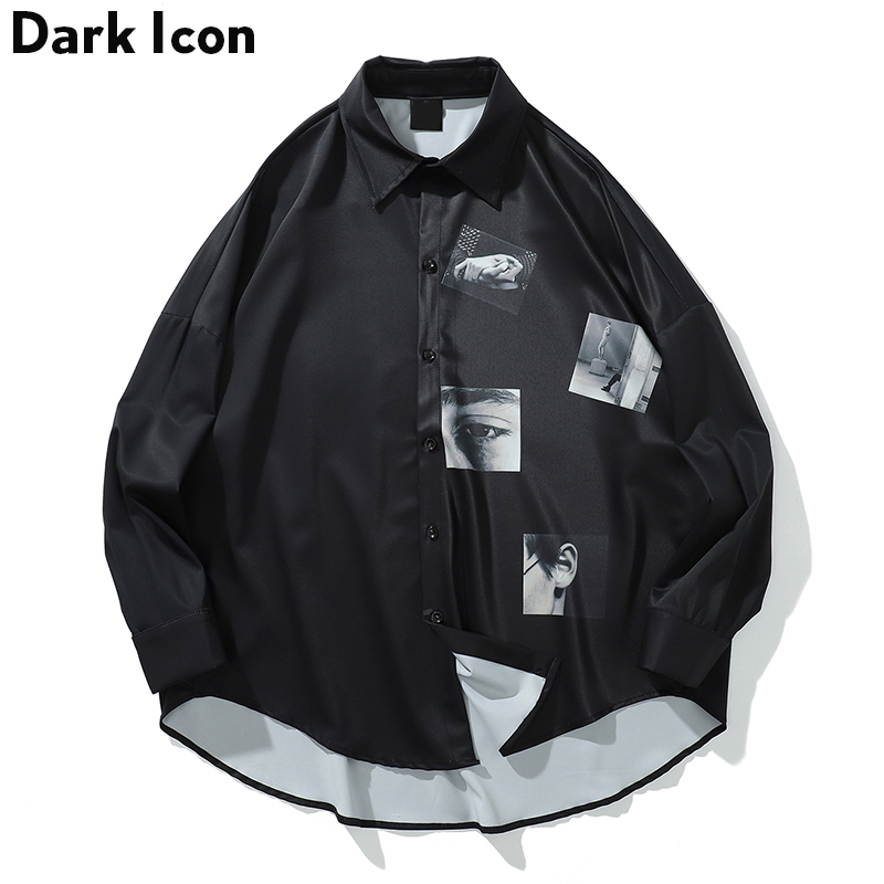 Dark Icon Printed Oversized Shirt Men 2019 Summer Turn-down Collar Men's Shirts Three Quarter Sleeve Shirts For Men