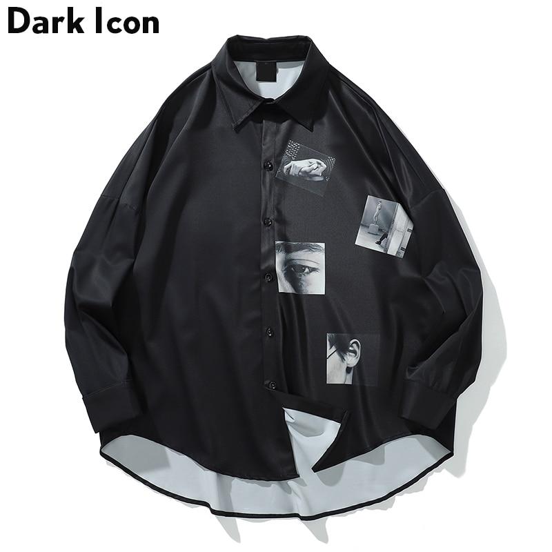 Dark Icon Printed Oversized Shirt Men 2019 Summer Turn-down Collar Men's Shirts Three Quarter Sleeve Shirts For Men