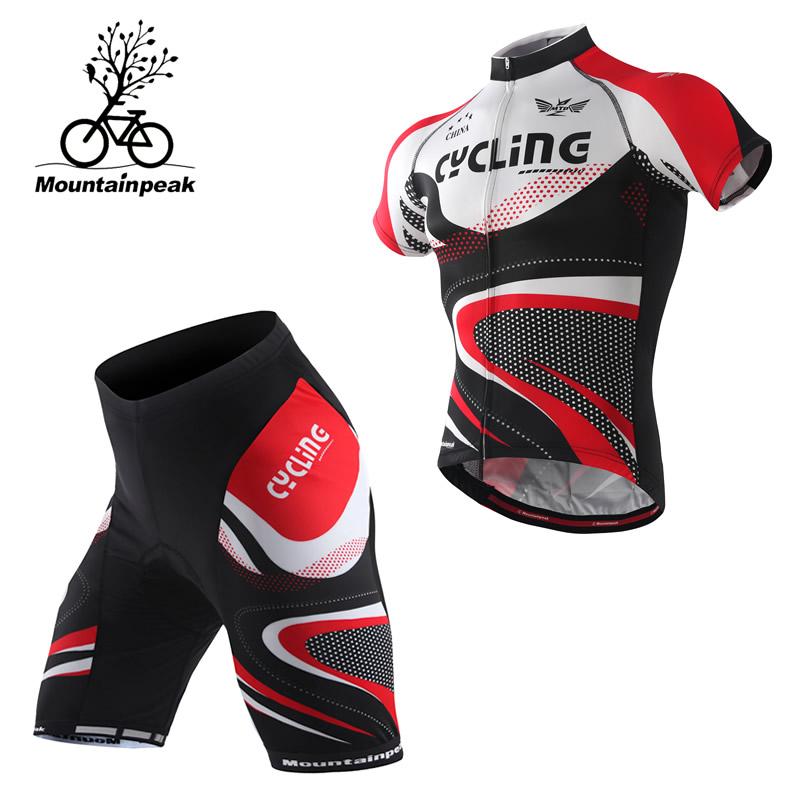 New Short Sleeve font b Cycling b font Suits Mountainpeak2017 Mountain Bike Equipment Through The Male