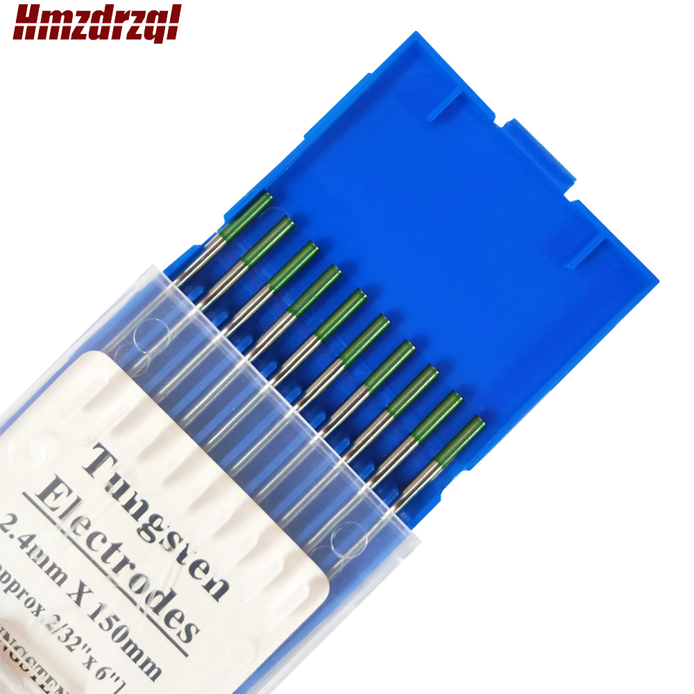 WP 10 Piece Green Color 2 4mm 150mm   approx 2 32inchx6inch  Pure Tungsten Electrode Head Tungsten Needle Rod For Welding Machine