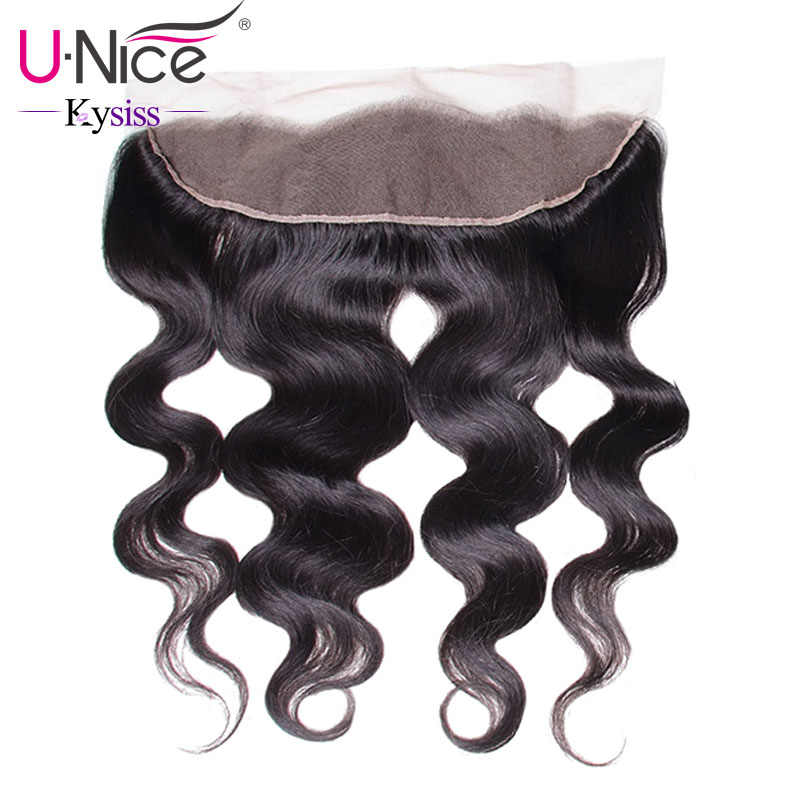 "UNice Hair 8A Kysiss Series Brazilian Body Wave Lace Frontal Free Part Ear to Ear Virgin Human Hair Lace Closure Size 13""x4"""