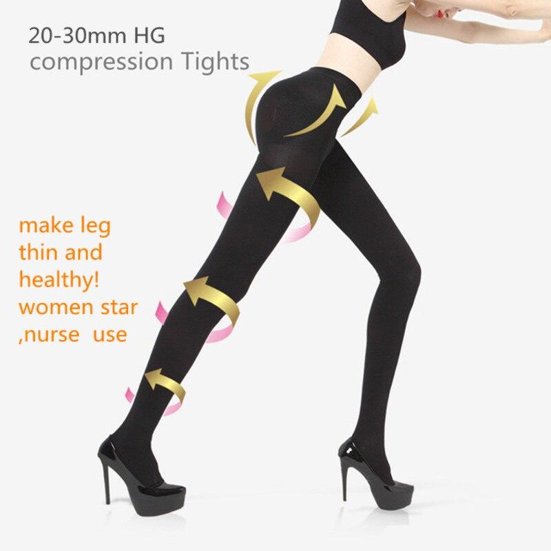 Las mujeres Slim medias terapéutico 20-30 mmHg rehabilitación 680D Shaper pierna delgada medias de compresión de Lycra medias